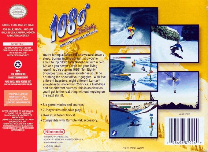 Face arriere du boxart du jeu 1080 Snowboarding (Etats-Unis) sur Nintendo 64