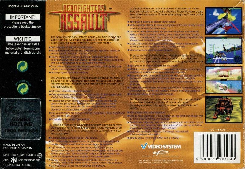 Face arriere du boxart du jeu AeroFighters Assault (Europe) sur Nintendo 64