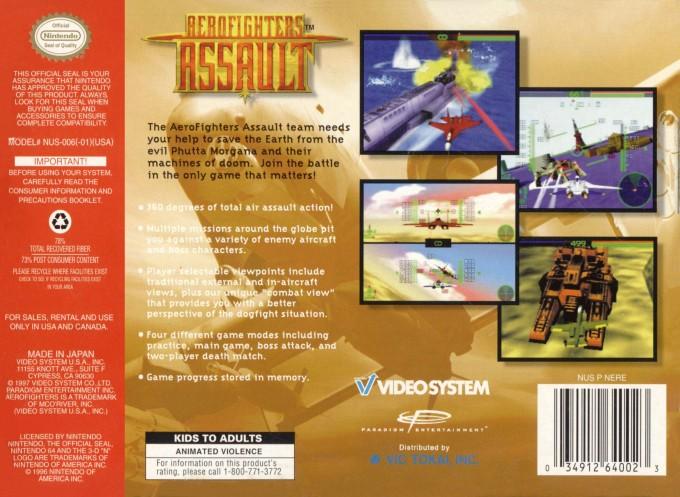 Face arriere du boxart du jeu AeroFighters Assault (Etats-Unis) sur Nintendo 64