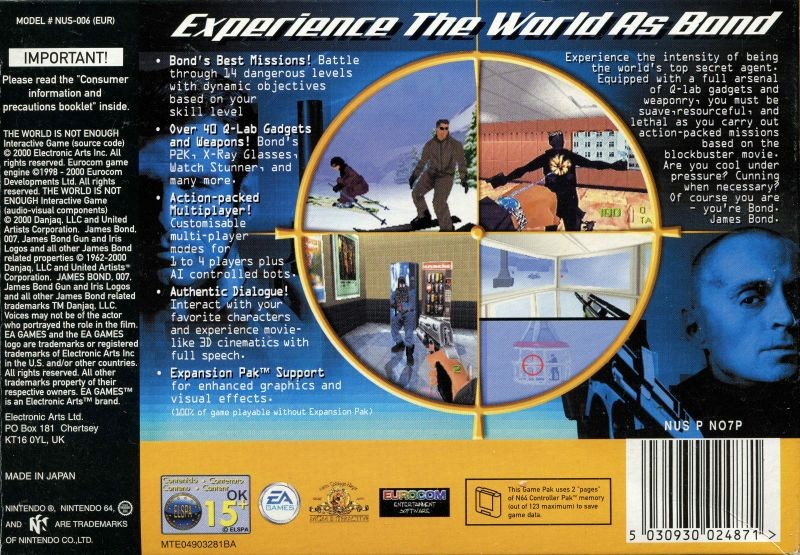 Face arriere du boxart du jeu 007 - The World is Not Enough (Australie) sur Nintendo 64