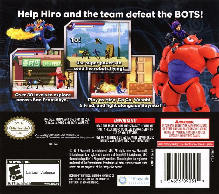 Face arriere du boxart du jeu Disney Big Hero 6 - Battle in the Bay (Etats-Unis) sur Nintendo DS