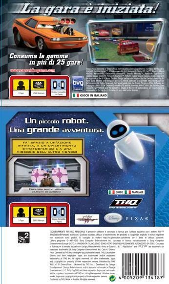 Face arriere du boxart du jeu Double Pack - Cars + WALL-E (Europe) sur Sony PSP