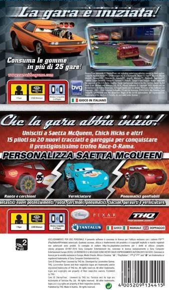 Face arriere du boxart du jeu Double Pack - Cars + Cars - Race-O-Rama (Europe) sur Sony PSP