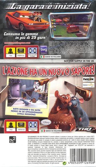 Face arriere du boxart du jeu Double Pack - Cars + Ratatouille (Europe) sur Sony PSP