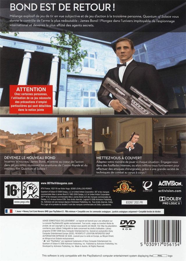 Face arriere du boxart du jeu 007 - Quantum of Solace (France) sur Sony Playstation 2