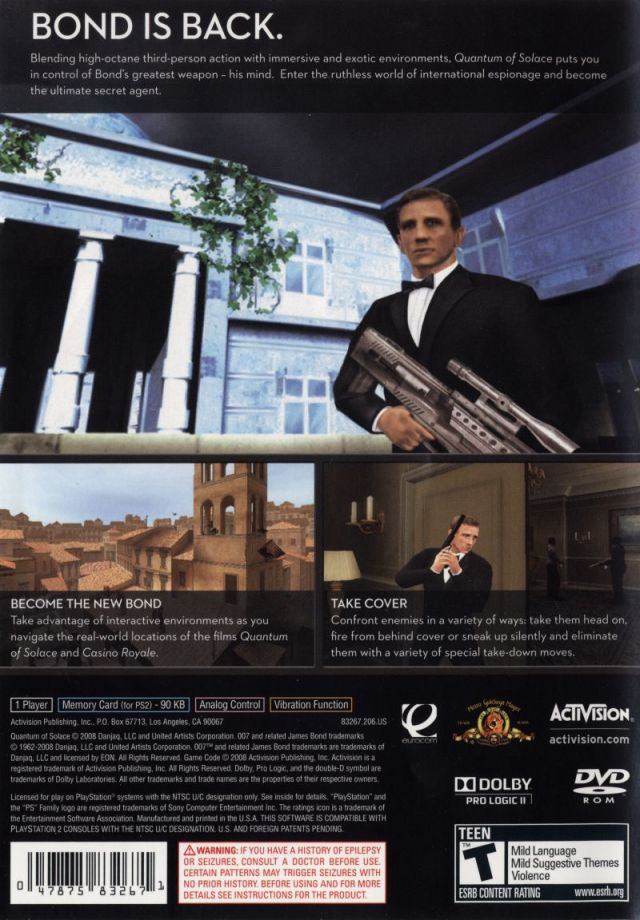 Face arriere du boxart du jeu 007 - Quantum of Solace (Etats-Unis) sur Sony Playstation 2