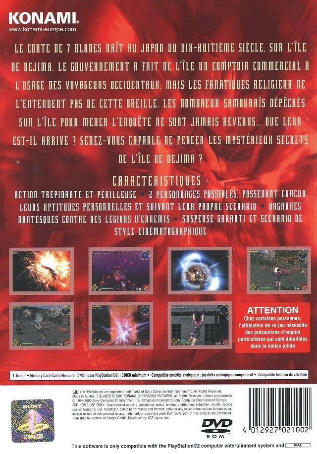 Face arriere du boxart du jeu 7 Blades (Europe) sur Sony Playstation 2