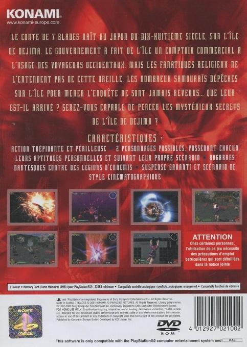 Face arriere du boxart du jeu 7 Blades (France) sur Sony Playstation 2