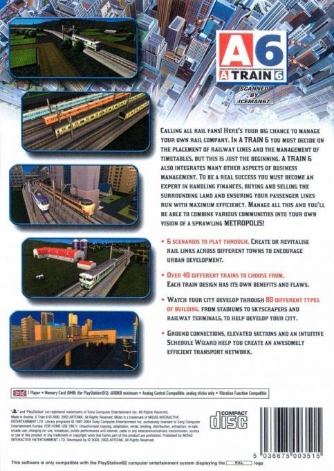 Face arriere du boxart du jeu A-Train 6 (Australie) sur Sony Playstation 2