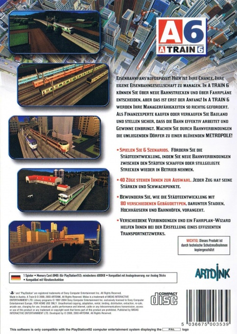 Face arriere du boxart du jeu A-Train 6 (Allemagne) sur Sony Playstation 2