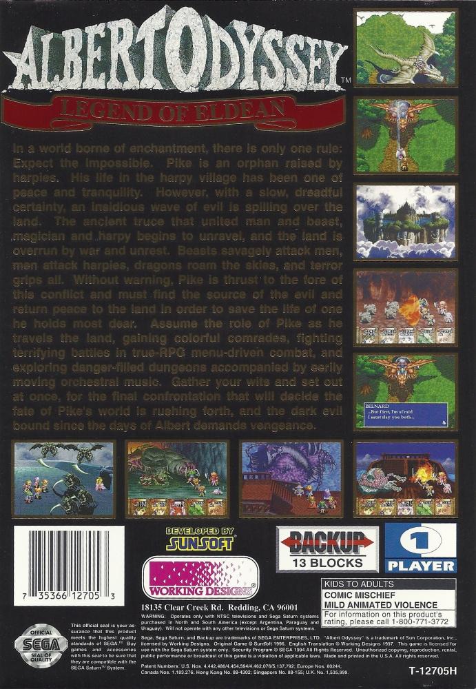 Face arriere du boxart du jeu Albert Odyssey Gaiden - Legend of Eldean (Etats-Unis) sur Sega Saturn