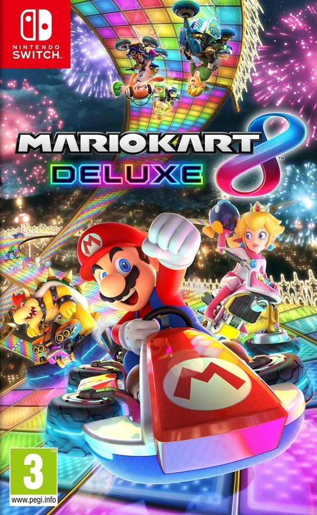 Face avant du boxart du jeu Mario Kart 8 Deluxe (Europe) sur Switch