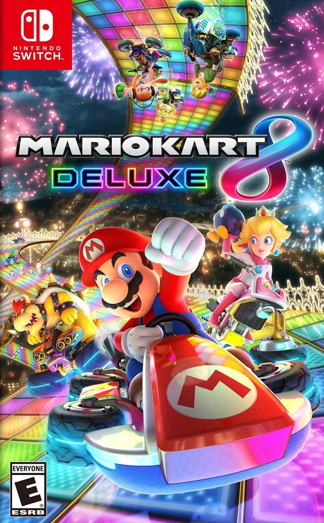 Face avant du boxart du jeu Mario Kart 8 Deluxe (Etats-Unis) sur Switch
