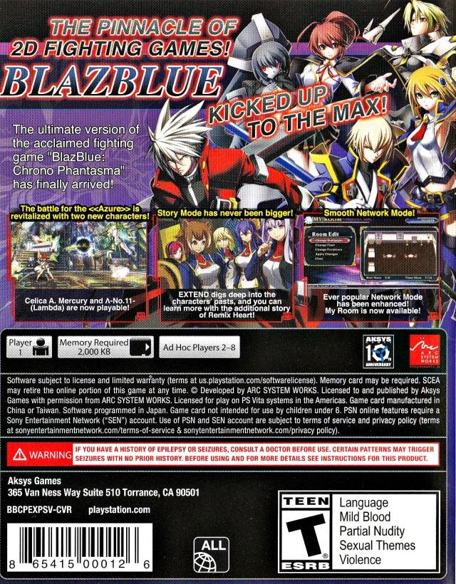 Face arriere du boxart du jeu BlazBlue - Chrono Phantasma Extend (Etats-Unis) sur Sony PS Vita
