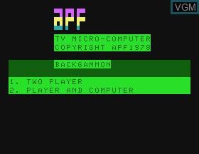 Image de l'ecran titre du jeu Backgammon sur APF Electronics Inc. APF-MP1000