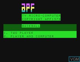 Image de l'ecran titre du jeu Baseball sur APF Electronics Inc. APF-MP1000