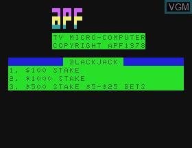 Image de l'ecran titre du jeu Blackjack sur APF Electronics Inc. APF-MP1000