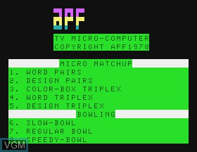 Image de l'ecran titre du jeu Bowling & Micro Match sur APF Electronics Inc. APF-MP1000