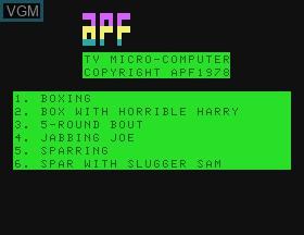 Image de l'ecran titre du jeu Boxing sur APF Electronics Inc. APF-MP1000