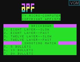 Image de l'ecran titre du jeu Brickdown & Shooting Gallery sur APF Electronics Inc. APF-MP1000