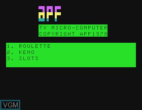 Image de l'ecran titre du jeu Casino I - Roulette & Keno & Slots sur APF Electronics Inc. APF-MP1000