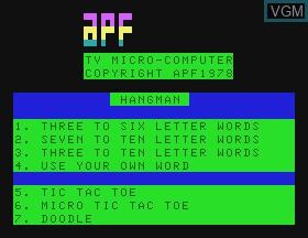 Image de l'ecran titre du jeu Hangman & Tic Tac Toe & Doddle sur APF Electronics Inc. APF-MP1000