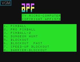 Image de l'ecran titre du jeu Pinball & Dungeon Hunt & Blockout sur APF Electronics Inc. APF-MP1000