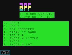 Image de l'ecran titre du jeu UFO & Sea Monster & Break It Down & Rebuild & Shoot sur APF Electronics Inc. APF-MP1000