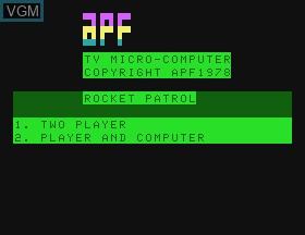 Image de l'ecran titre du jeu Rocket Patrol sur APF Electronics Inc. APF-MP1000