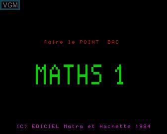 Image de l'ecran titre du jeu Faire le Point Bac - Maths 1 sur Matra Tandy Alice (MC-10)