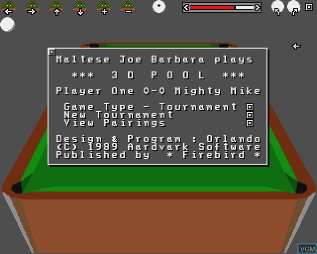 Image de l'ecran titre du jeu 3D Pool sur Commodore Amiga