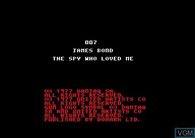 Image de l'ecran titre du jeu 007 - The Spy Who Loved Me sur Amstrad CPC