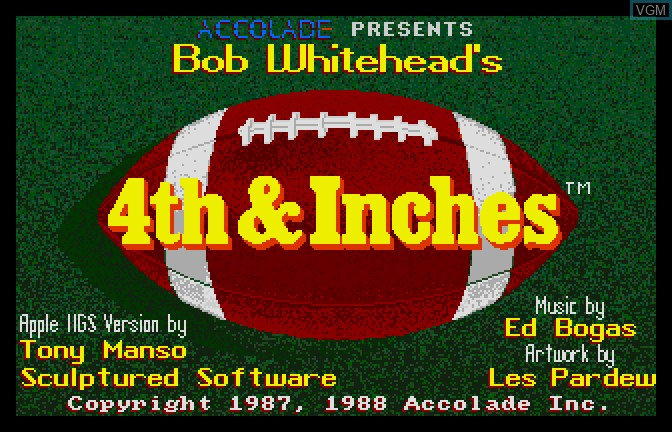Image de l'ecran titre du jeu 4th & Inches sur Apple II GS