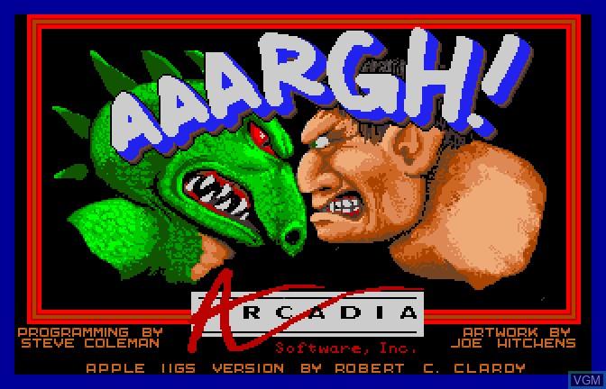 Image de l'ecran titre du jeu Aaargh! sur Apple II GS