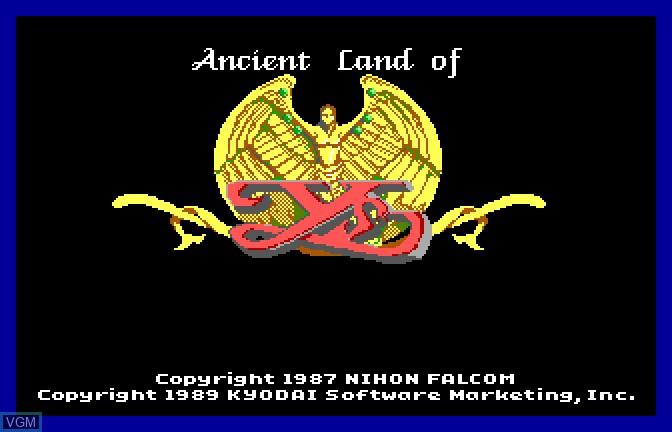 Image de l'ecran titre du jeu Ancient Land of Ys sur Apple II GS