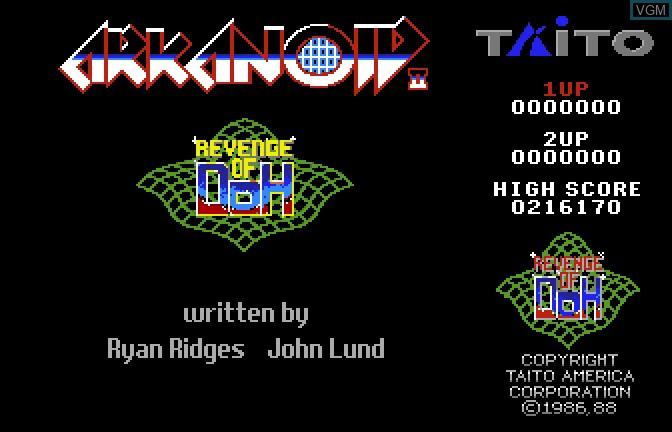 Image de l'ecran titre du jeu Arkanoid II - Revenge of Doh sur Apple II GS