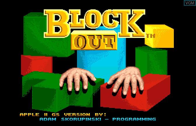 Image de l'ecran titre du jeu Block Out sur Apple II GS
