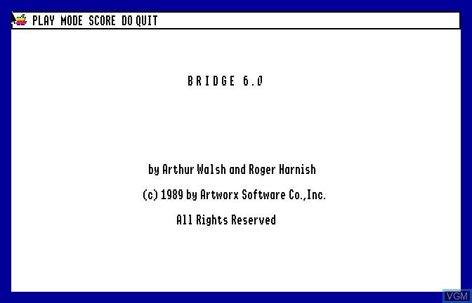 Image de l'ecran titre du jeu Bridge 6.0 - Your Bid For Entertainment sur Apple II GS