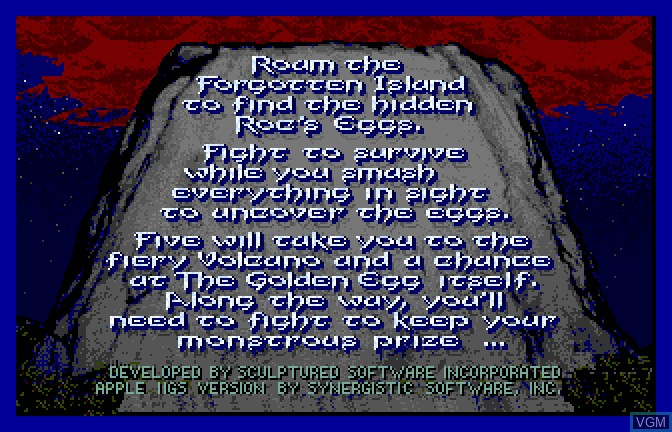 Image du menu du jeu Aaargh! sur Apple II GS