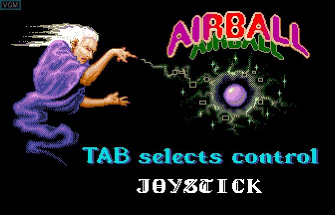 Image du menu du jeu Airball sur Apple II GS