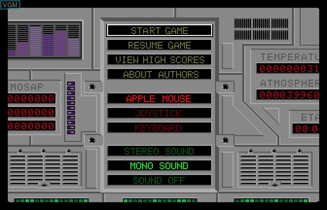 Image du menu du jeu Alien Mind sur Apple II GS