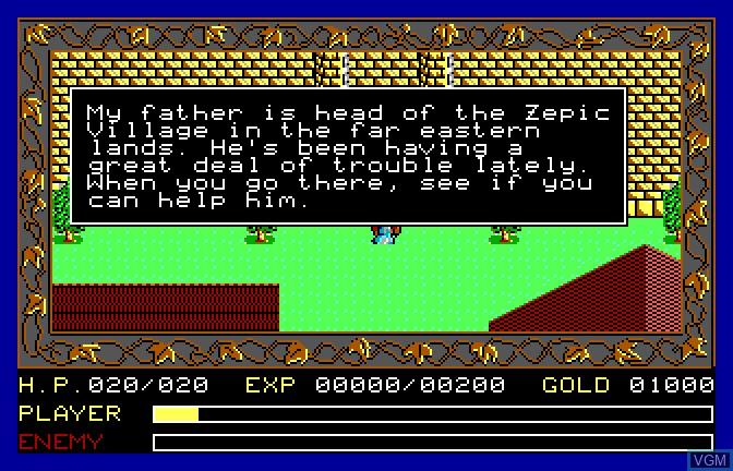 Image du menu du jeu Ancient Land of Ys sur Apple II GS