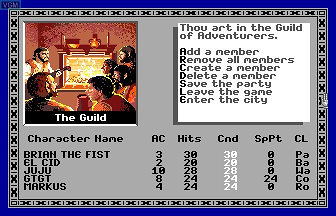 Image du menu du jeu Bard's Tale - Tales of the Unknown, The sur Apple II GS