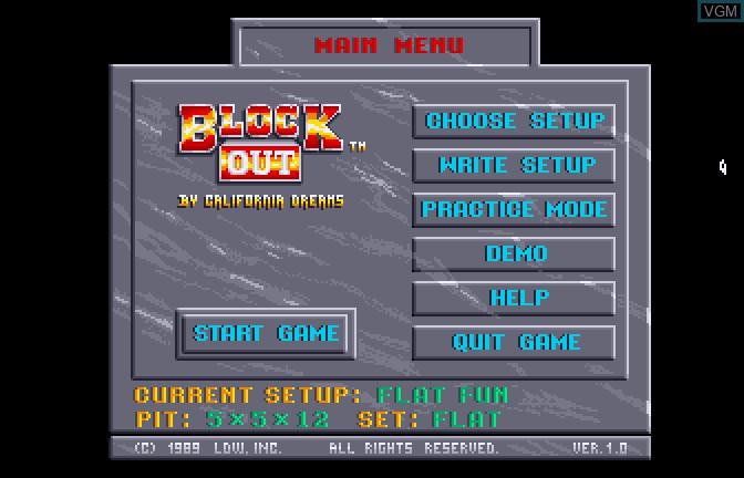 Image du menu du jeu Block Out sur Apple II GS