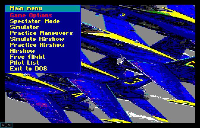 Image du menu du jeu Blue Angels sur Apple II GS