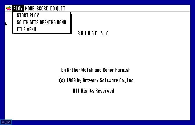 Image du menu du jeu Bridge 6.0 - Your Bid For Entertainment sur Apple II GS