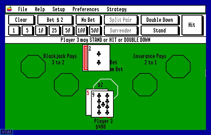 Image in-game du jeu Blackjack Academy sur Apple II GS