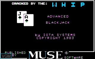 Image de l'ecran titre du jeu Advanced Blackjack sur Apple II
