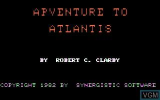 Image de l'ecran titre du jeu Adventure To Atlantis sur Apple II