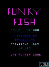 Image de l'ecran titre du jeu Funky Fish sur Emerson Radio Corp. Arcadia 2001